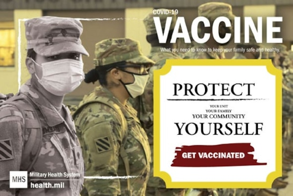The 66th Medical Squadron at Hanscom Air Force Base, Mass., is planning to implement the Department of Defense COVID-19 vaccination distribution plan at the local level. Hanscom Clinic officials are encouraging all prioritized personnel to take the vaccine once it's available. (Graphic by Defense Health Agency)