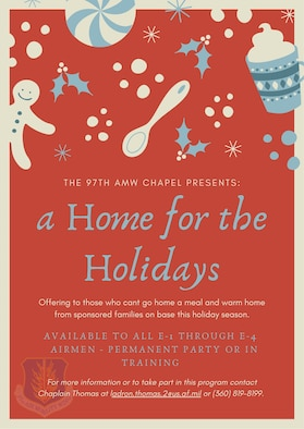 A Home for the Holidays program flyer.