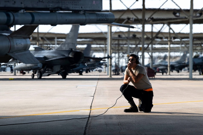 Airman on flightline