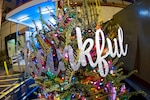 """The word """"thankful"""" adorns The Thankful Tree, currently on display at NSA Headquarters."""