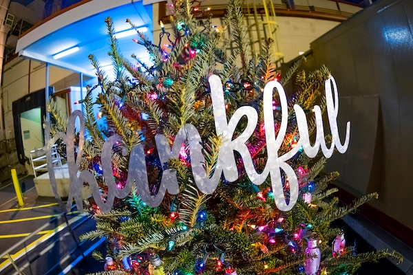 "The word ""thankful"" adorns The Thankful Tree, currently on display at NSA Headquarters."
