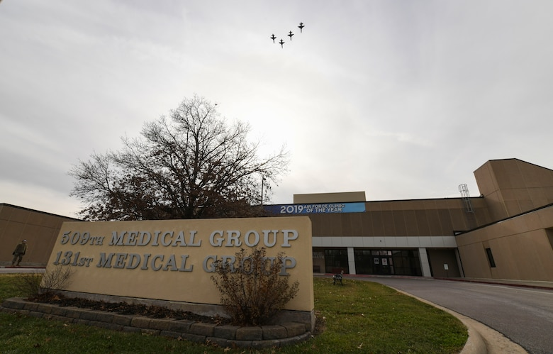 Four T-38 Talons, assigned to the 509th Bomb Wing flew over the 509th Medical Group clinic to honor the health care professionals for Air Force Global Strike Command's Medical Professionals Appreciation Day at Whiteman Air Force Base, Missouri, Dec. 18, 2020. The flyover served as part of an effort to thank the 509th MDG staff for their hard work over the past year in the fight against COVID-19. (U.S. Air Force photo by Tech. Sgt. Heather Salazar)