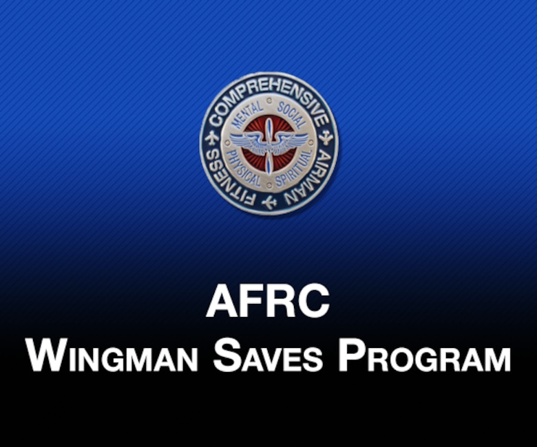 "Picture of Headquarters AFRC A1RZ resiliency coin and text ""AFRC Wingman Saves Program"" with blue to black gradient color in the background."
