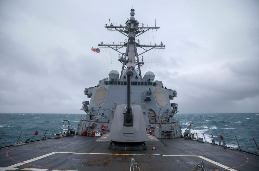 EAST CHINA SEA (Dec. 18, 2020) USS Mustin (DDG 89) conducts routine underway operations. Mustin is forward-deployed to the U.S. 7th Fleet area of operations. All nations benefit from free and open access to the maritime domain, delivering a ready, competitive, and lethal force to Combatant Commanders with the confidence and resolve to win any future contest. (U.S. Navy photo by Mass Communication Specialist Third Class Arthur Rosen)