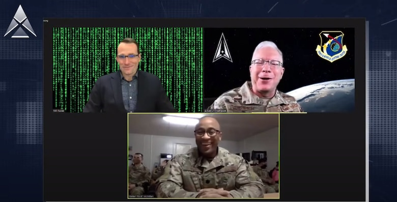 Dr. Will Roper, Assistant Secretary of the Air Force for Acquisition, Technology and Logistics, Lt. Gen. John F. Thompson, Space and Missile Systems Center commander and program executive officer for space, and Lt. Col. Walter 'Rock' McMillan, SpaceWERX director, speak during the AFWERX Accelerate virtual event Dec. 6. (Courtesy photo)