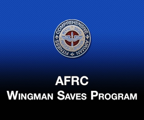 """Picture of Headquarters AFRC A1RZ resiliency coin and text """"AFRC Wingman Saves Program"""" with blue to black gradient color in the background."""