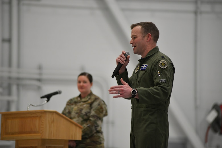 U.S. Air Force Lt. Col. Samuel Chipman, the 355th Fighter Squadron commander, speaks during the squadron reactivation ceremony Dec. 18, 2020, at Eielson Air Force Base, Alaska.