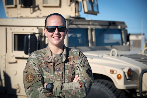 Tech. Sgt. Catherine Nelson, 921st Contingency Response Squadron security forces squad leader, poses for a photo Dec. 14, 2020, at Travis Air Force Base, California. When she began her career in security forces, she knew the job had been traditionally male-dominated in the past. And although this has changed over the years, Nelson said gender stereotyping can still happen in the military. (Photo by Master Sgt. Liliana Moreno)