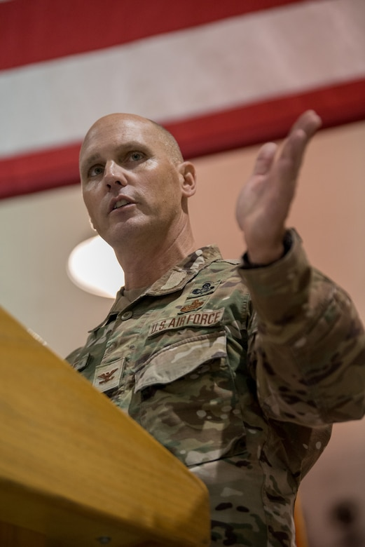Col. George H. Imorde III, incoming commander of the 123rd Mission Support Group, speaks at his change-of-command ceremony at the Kentucky Air National Guard Base in Louisville, Ky., on Nov. 14, 2020. Imorde previously served as the 123rd Security Forces Squadron commander and antiterrorism officer for the 123rd Airlift Wing. (U.S. Air National Guard photo by Staff Sgt. Joshua Horton)