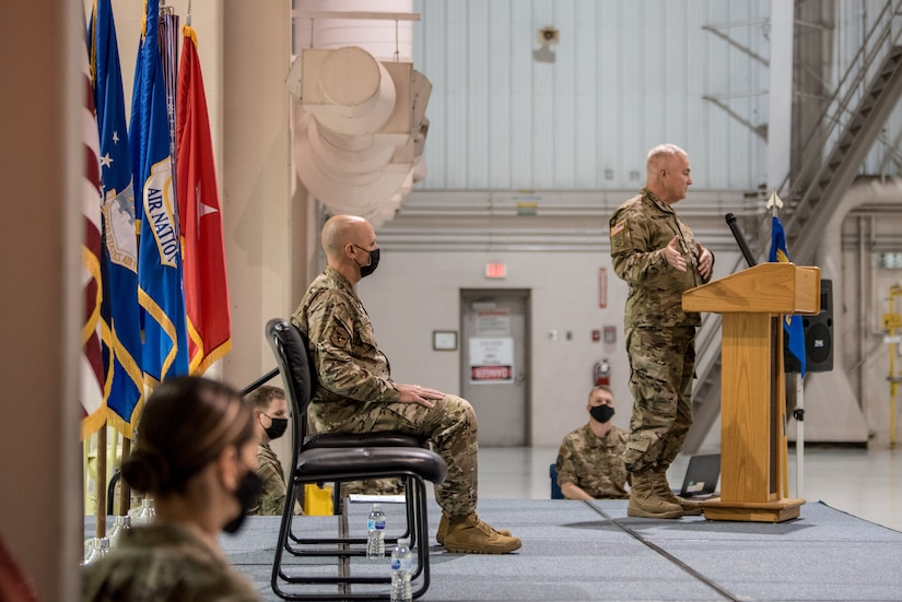 Brig. Gen. Hal Lamberton, adjutant general for the Commonwealth of Kentucky, speaks during the promotion ceremony of Col. George H. Imorde III, incoming commander of the 123rd Mission Support Group, at the Kentucky Air National Guard Base in Louisville, Ky., on Nov. 14, 2020. (U.S. Air National Guard photo by Staff Sgt. Joshua Horton)