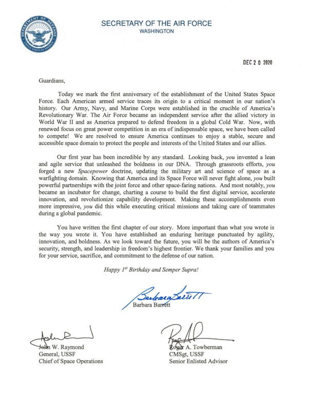 U.S. Space Force Birthday Letter to Guardians.