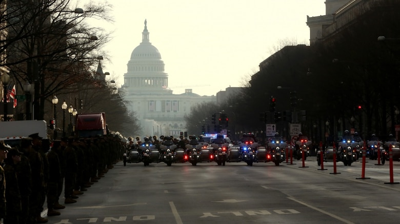 Members of the Police Task Force escort members in the rehearsal parade on Pennsylvania Avenue in Washington, D.C., Jan. 15, 2017. More than 5,000 military members from across all branches of the armed forces of the United States, including Reserve and National Guard components, provided ceremonial support and Defense Support of Civil Authorities during the inaugural period. (DoD photo by U.S. Army Pfc. Jada Owens)