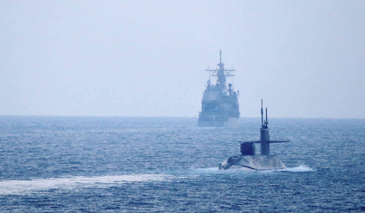 USS Port Royal (CG 73), USS Philippine Sea (CG 58) and USS Georgia (SSGN 729) transit the Strait of Hormuz.