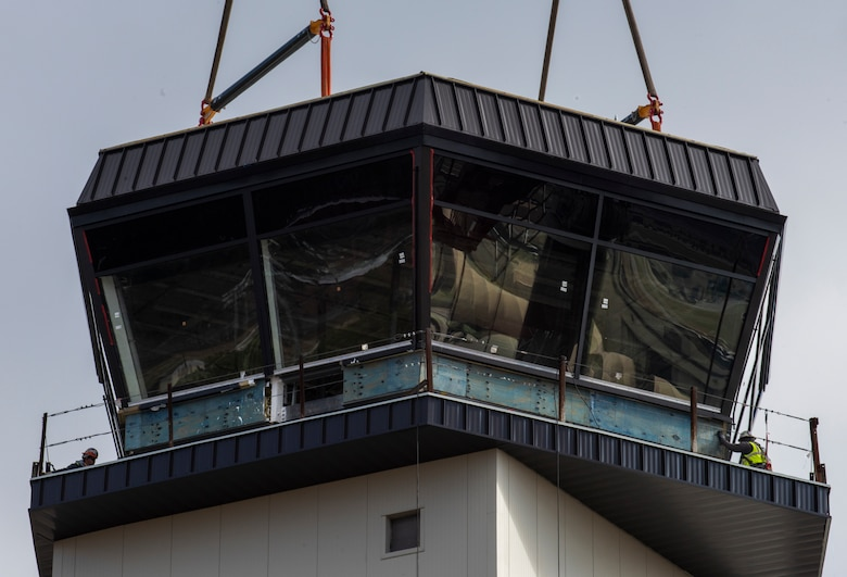 The control cab is positioned on top of the new air traffic control tower at Seymour Johnson Air Force Base, North Carolina.