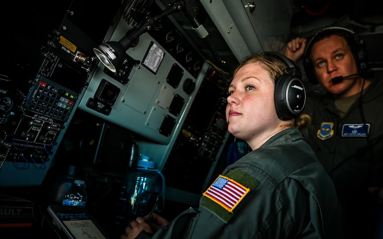 Airman 1st Class Cassandra Wesley, a 91st Air Refueling Squadron boom operator, trains alongside Master Sergeant Dustin Sheldon, a 91st ARS in-flight refueling instructor, during week-long integrated training at Barksdale Air Force Base, La., Dec. 14, 2020.