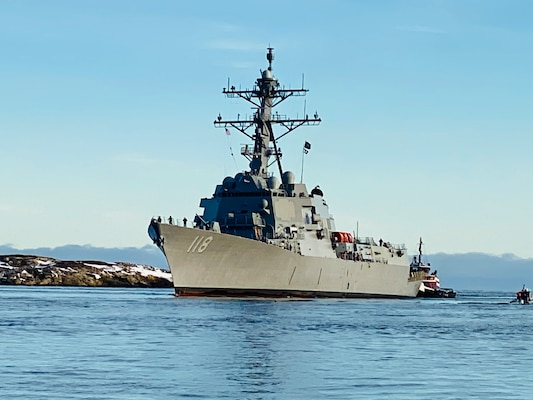 The future USS Daniel Inouye (DDG 118) returns to the General Dynamics Bath Iron Works shipyard after successfully completing Builder's Trials on Dec. 19, 2020.