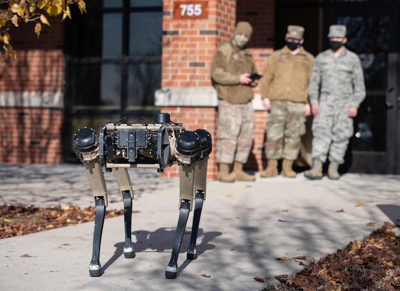 Airman watch robot dog demonstration
