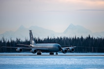 A U.S. Air Force KC-135 Stratotanker from the Alaska Air National Guard's 168th Wing taxis on the flightline Dec. 18, 2020 at Eielson Air Force Base, Alaska.