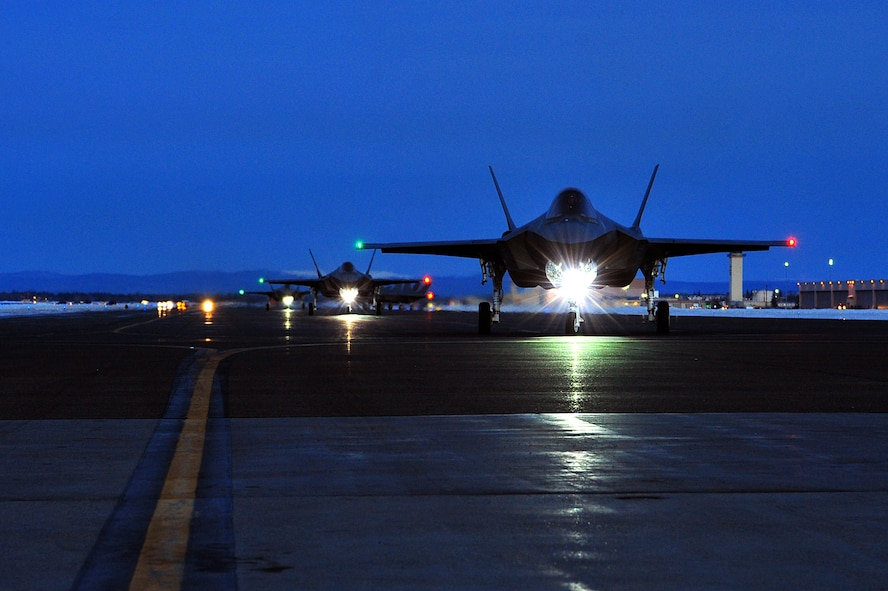 A U.S. Air Force F-35A Lightning II assigned to the 354th Fighter Wing taxis on the flightline at Eielson Air Force Base, Alaska, Dec. 18, 2020.
