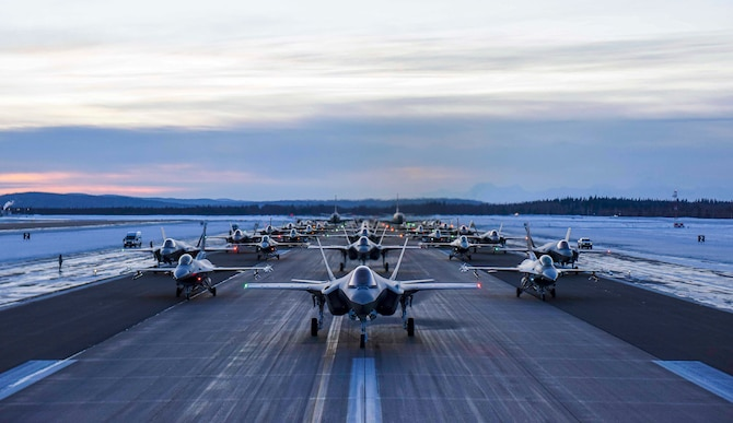Aircraft assigned to the 354th Fighter Wing and 168th Wing park in formation on Eielson Air Force Base, Alaska, Dec. 18, 2020.