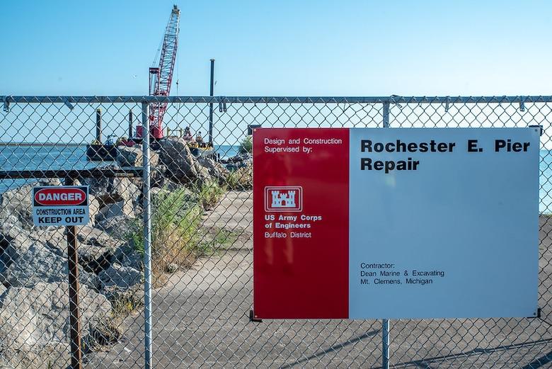 Crews work to repair 600-feet of the Rochester Harbor E. Pier
