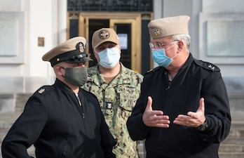 MCPON Russell Smith and Navy Surgeon General, Rear Adm. Bruce Gillingham speak at Walter Reed National Military Medical Center