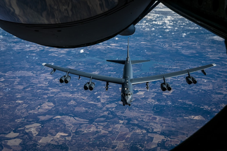 A B-52H Stratofortress assigned to Barksdale Air Force Base, La., approaches a KC-135 Stratotanker from MacDill Air Force Base, Fla., for air refueling support, Dec. 14, 2020.