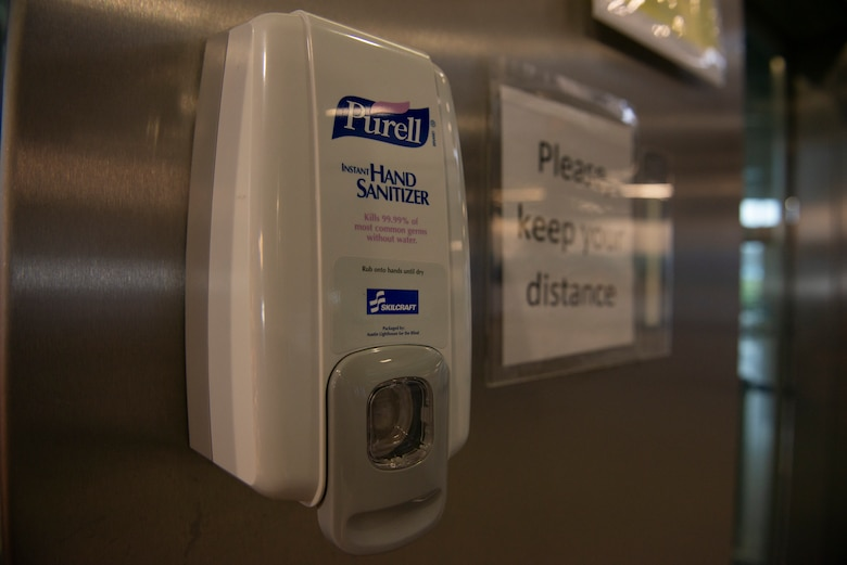 A photo of a hand sanitizer station.
