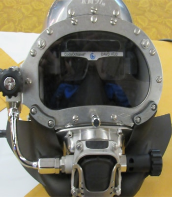 U.S. Navy diving helmet with Diver Augmented Vision Display (DAVD) installed.