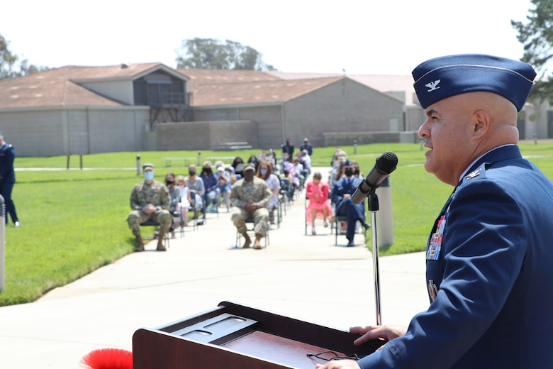 Col. Peter J. Flores, Space Training and Readiness Delta Provisional commander, addresses the 533rd Training Squadron as part of the U.S. Space Force transfer ceremony Sept. 3, 2020, at Vandenberg Air Force Base, Calif.