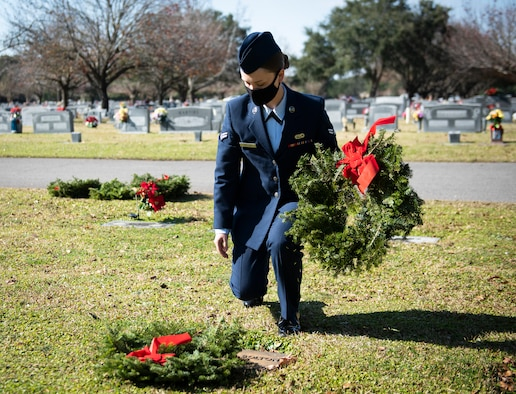 Eglin Airmen participate in first local Wreaths Across America ceremony at Beal Memorial Cemetery in Fort Walton Beach, FL.
