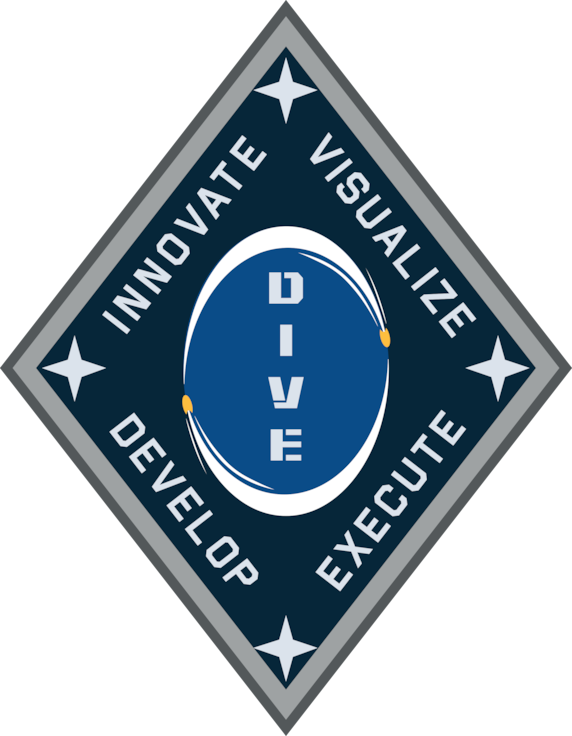 Picture of DIVE logo - diamond shape outlined in gray, with word dive vertical in the middle and surrounded by words innovate, visualize, develop and execute