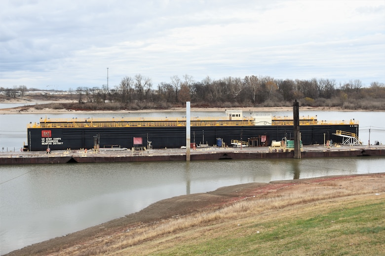 IN THE PHOTO, dry dock 5801 after it was serviced in Morgan City, Louisiana and back at Ensley Engineer Yard in Memphis, Tennessee. The dry dock was shipped to the Conrad Shipyard in Louisiana for repairs and maintenance in June 2019. The dock has been operating since 1958. (USACE photos by Jessica Haas)