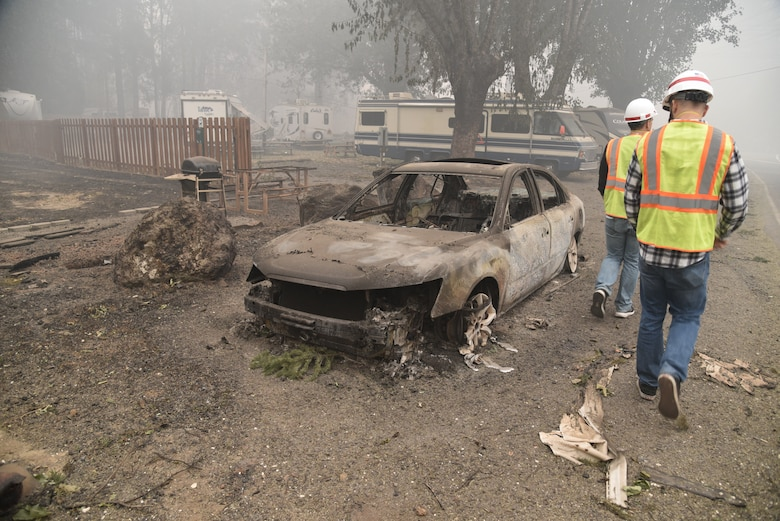 Detroit Dam operators walk through the remnants of Detroit, Ore. after the Beachie Creek Fire moved through the area, Sept. 15, 2020. The fire destroyed lives, homes, businesses and land in the North Santiam Canyon but spared the dam and other major U.S. Army Corps of Engineers infrastructure. Most of the facilities are intact and functioning, which will be important for the upcoming flood season.
