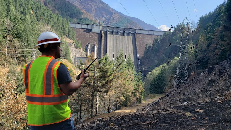 A multi-disciplinary team of operations, engineering and dam safety personnel inspect Detroit Dam Sept. 22 to assess impacts to the project—as well as the project's functionality and any major safety concerns—after the Beachie Creek and Lionshead fires spread throughout the area upstream and downstream of the dam.