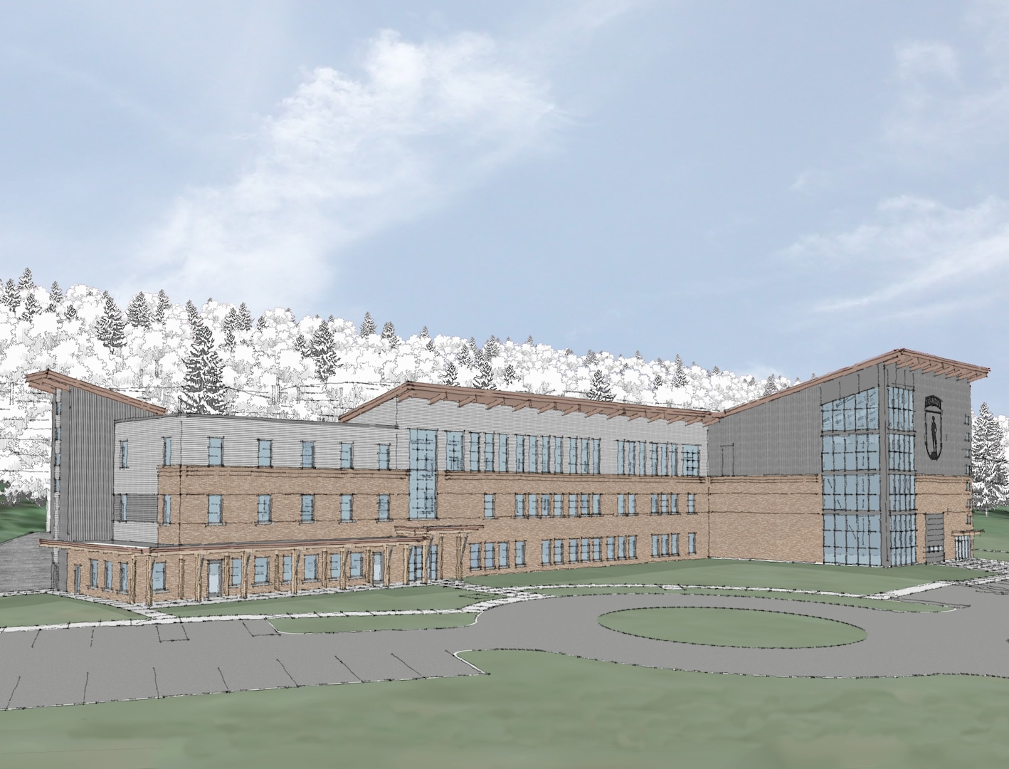 A groundbreaking ceremony for the construction of a new Army Mountain Warfare School at the Camp Ethan Allen Training Site in Jericho, Vermont, is scheduled for Nov. 5, 2020. This rendition depicts the design of the $27 million facility, scheduled to be complete in April 2022.