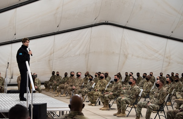 Secretary of the Air Force Barbara Barrett, Air Force Chief of Staff Gen. Charles Q. Brown, Jr., and Chief Master Sergeant of the Air Force JoAnne S. Bass, visited Airmen at Prince Sultan Air Base, Kingdom of Saudi Arabia Dec. 22, 2020.