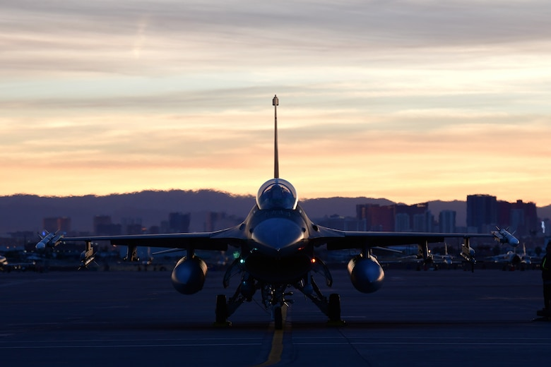 A combined active duty and reserve mix of 84th TES, 85th TES, and 422nd TES pilots conduct Force Development Evaluations of multiple systems on the F-16, Dec. 15, at Nellis Air Force Base, Nev. (U.S. Air Force Photo by Maj. Mike Giaquinto)