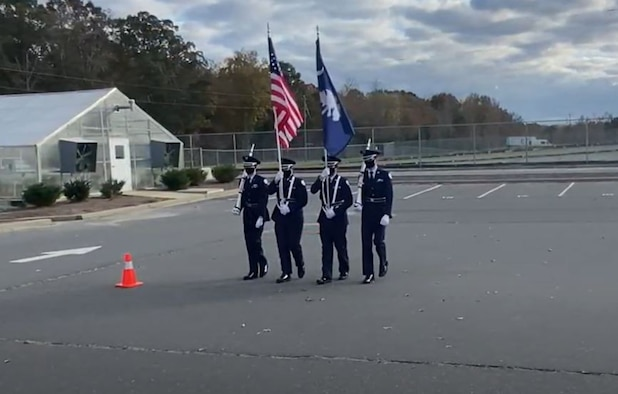 The Clover High School Air Force Junior Reserve Officer Training Guard color guard team perform drill movements during their competition video recording in Clovis, South Carolina. Teams from across 7 states competed in several events, including Color Guard, Individual Armed, Individual Unarmed, Element Armed, Element Unarmed, Element Unarmed 1st year, Flight Armed and Flight Unarmed.