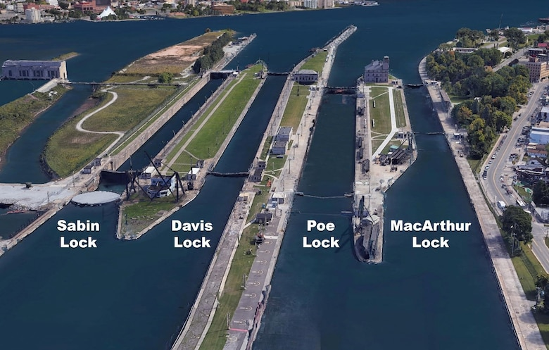 Aerial image of the current four Soo Locks. The Corps of Engineers is building a second Poe-sized lock to provide much needed resiliency in the Great Lakes Navigation System. The new lock is being built on the existing Sabin and Davis Locks sites.