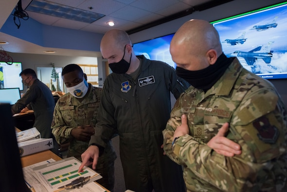 The 49th Wing leadership team visits the 311th Fighter Squadron
