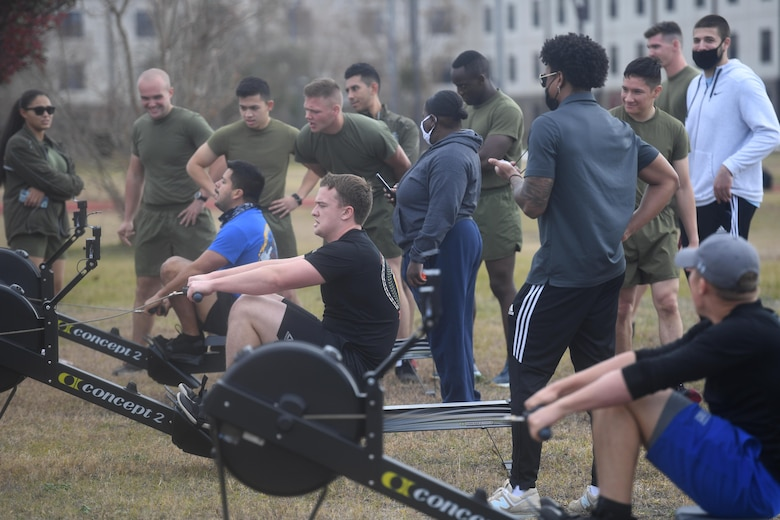 Airmen from the 81st Training Group participate in a reindeer games fitness challenge at Keesler Air Force Base, Mississippi, Dec. 23, 2020. The 81st TRG held various events for Airmen to participate in throughout the holidays, to include ice skating, inflatables, a scavenger hunt and a bubble ball soccer tournament. (U.S. Air Force photo by Kemberly Groue)