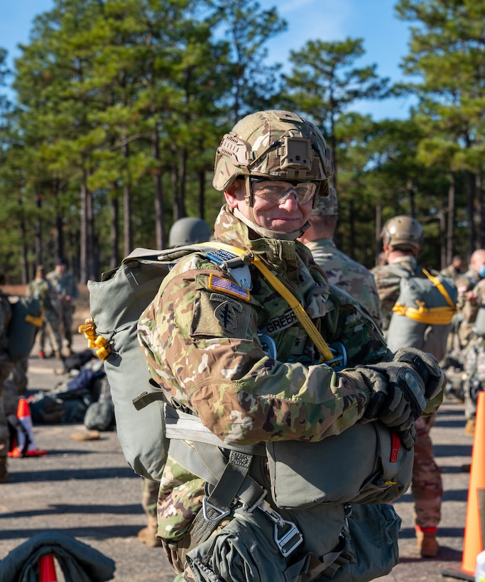 U.S. Army Reserve Brig. Gen. Michael M. Greer, U.S. Army Civil Affairs and Psychological Operations Command (Airborne) deputy commanding general, prepares to conduct airborne operations at Sicily Drop Zone, Fort Bragg, N.C., Dec. 3, 2020, during non-tactical airborne operations hosted by USACAPOC(A) and the 82nd Airborne Division.