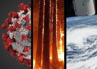 3 photos placed together, including the Covid-19 virus, trees on fire and a hurricane from space.