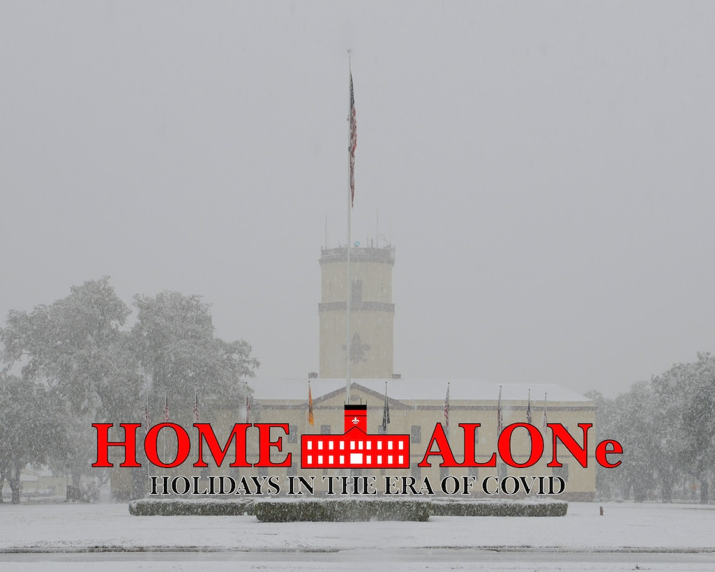 The 2nd Bomb Wing headquarters building is laden with snow after a winter storm on Barksdale Air Force Base, La., Feb. 25, 2015.