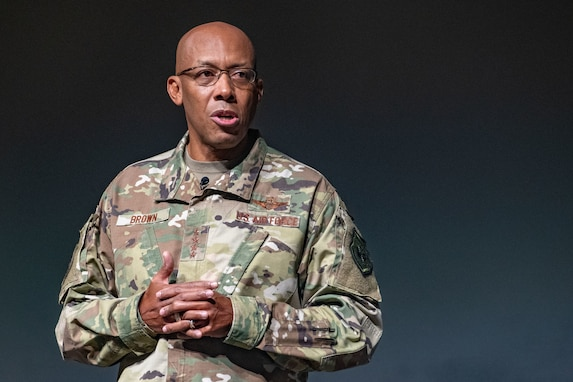 Maxwell AFB,  Ala. -  Air Force Chief of Staff Air Force Chief of Staff Gen. Charles Q. Brown, Jr. addresses students from Air War College and Air Command and Staff College at Air University. (U.S. Air Force photo by Trey Ward/CLEARED FOR PUBLIC RELEASE)