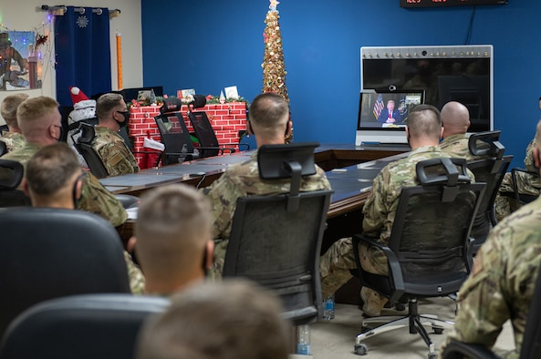 President Donald J. Trump speaks with Airmen from the 378th Expeditionary Civil Engineer Squadron during a conference call, Dec. 25, 2020, at Prince Sultan Air Base, Kingdom of Saudi Arabia.