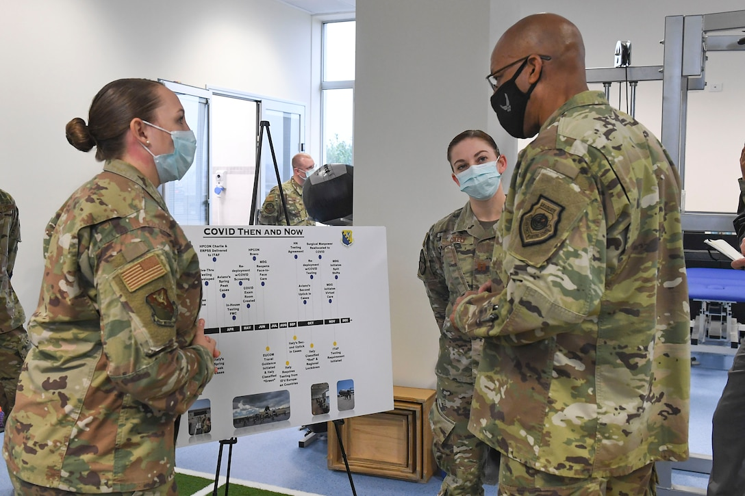 Air Force Chief of Staff Gen. Charles Q. Brown, Jr. tours the Comprehensive Operational Medicine for Battle Ready Airmen (COBRA) Clinic and receives briefs about several different programs at Aviano Air Base, Italy, Dec. 23, 2020. During the tour, the COVID-19 response team spoke about the innovative processes that were implemented throughout the 31st Fighter Wing during the global pandemic. (U.S. Air Force photo by Staff Sgt. Valarie Halbert)