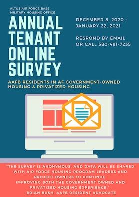 Annual tenant online survey graphic.