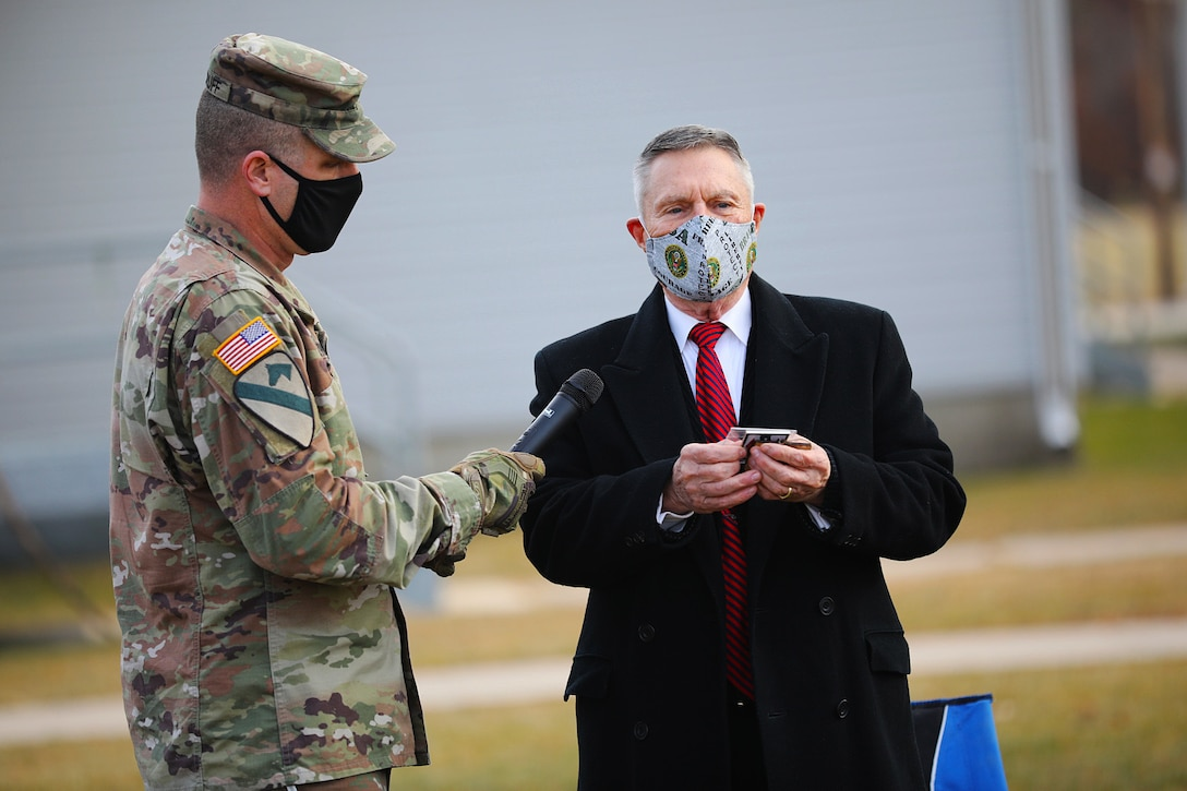 Fort McCoy Soldiers and Sparta Chamber of Commerce Honor Walter Haag